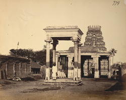 View from the south of the four-pillared mandapa and gopura of the Kailasanatha Temple, Tiruchengodu 2701
